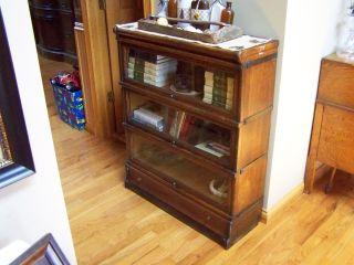 Antique Oak 4 Stack Bookcase Barrister Lawyer Arts & Crafts - Bottom Drawer photo