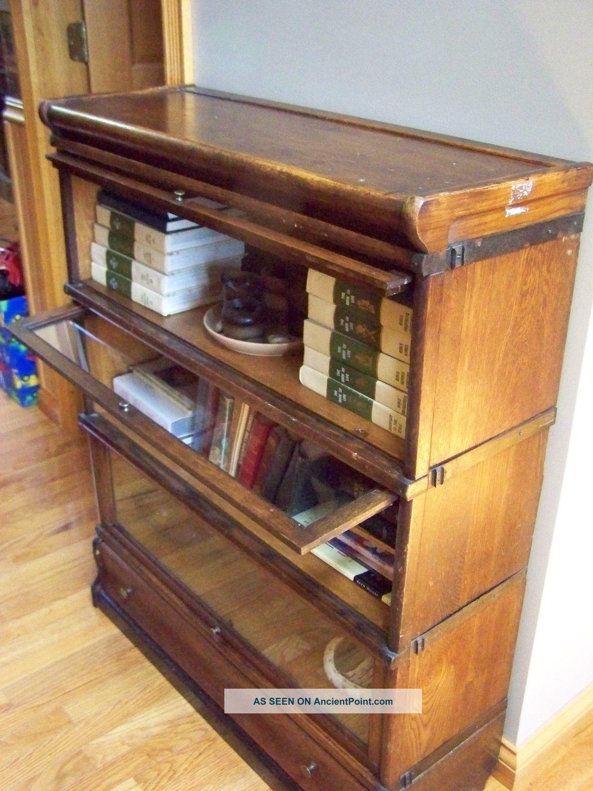 Antique Oak 4 Stack Bookcase Barrister Lawyer Arts Crafts
