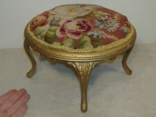 Antique Hanson Dickson Needlepoint Rose Ottoman Footstool Stool Amsterdam Ny photo