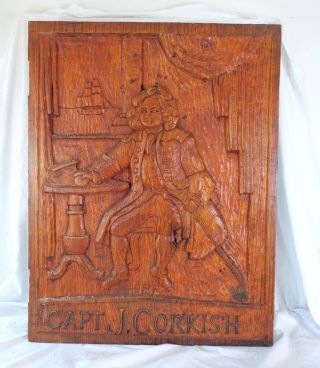Antique Vintage Hand Carved Oak Wooden Pub Tavern Sign Capt J Corkish Ship photo