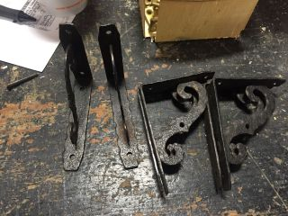 3 Pairs Vintage Metal Shelf Brackets - Stamped Detail - 4