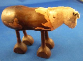 Primitive Hand Carved Walking Wood & Clay Horse Toy 3 1/4