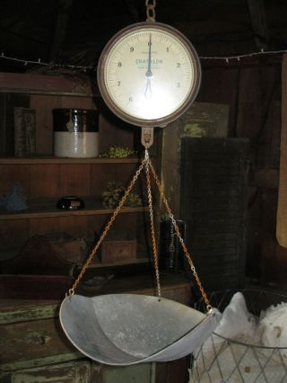 Vintage Antique Blue Chatillon Glass Face Hanging Produce Scale 1931 photo