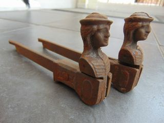 Pair Antique French Window Shutter Dogs / Window Stop / Hold Back / Lady Head photo