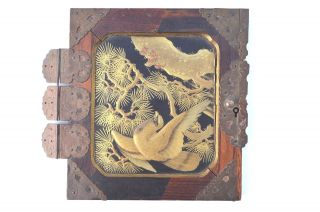 Gorgeous Antique Japanese Lacquer Door Panel A Pretty Bird Ornate Brass Hardware photo