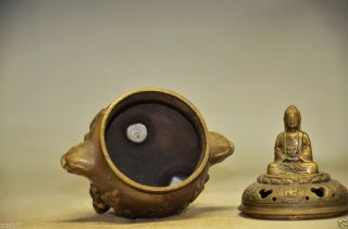 Delicate Chinese Copper Handwork Carved Incense Burner Ad16 photo