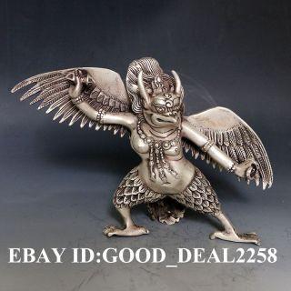Oriental Vintage Silver Copper Hand - Carved Leizhenzi Statue Gd5755 photo