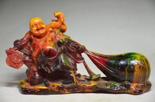 Delicate Chinese Amber Hand Carved Bring M0ney Fortune Statue photo