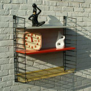 Vintage Retro Mid Century Modern Sixties Dutch Tomado Bookshelf With Basket photo