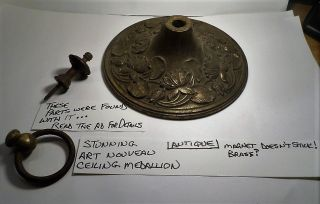 Antique Art Nouveau Brass Ornate Ceiling Medallion For Hanging Light Fixture photo