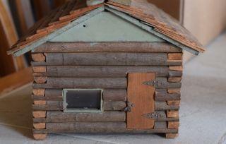 Antique Primitive Folk Art One Room Log Cabin Wood Logs Shakes Prim Vintage Toy photo