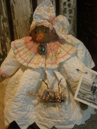 Primitive Snowman Easter Doll Quilt,  Old Rhinestone Button,  Folk Art Snow Doll photo