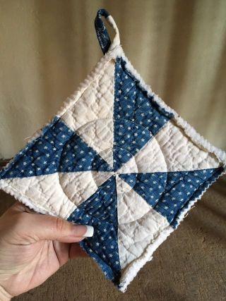 Early Antique Blue Calico Star Quilt Textile Pot Holder Make Do Aafa Handmade photo