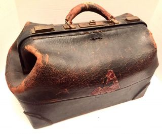 Antique Doctor Bag Worcester Academy Ma C1870 Black Leather Walrus? Old Medicine photo
