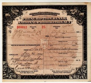 Prohibition Prescription Antique Whiskey Christmas Day Doctor Pharmacy Pa Kelly photo