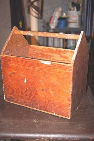 Primitive Antique Tote Tool Box Garden Carrier Primitive Planter Hand Made photo