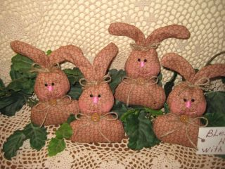 4 Handmade Floral Fabric Rabbit Bowl Fillers Wreath - Making Easter Home Decor photo
