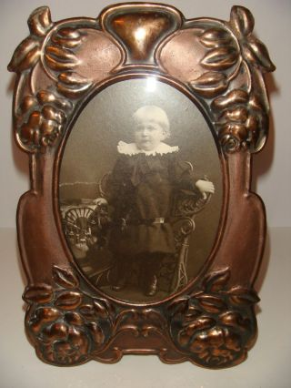 Antique Art Nouveau Arts & Crafts Rose Copper Picture Frame Cabinet Photo Child photo