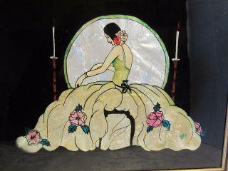 Antique Reverse Painted Glass Foil Tinsel Art Deco Lady Victorian Gold 14.  75