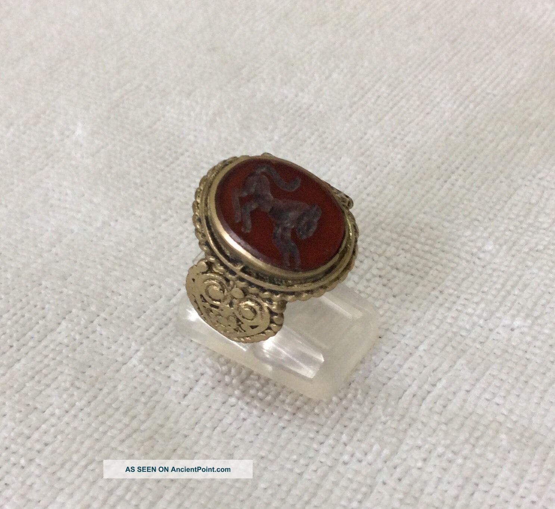 Men ' S Engraved Agate Rings Vintage Afghan Stone Animal Signet Islamic Vtg 9.  5 2 Islamic photo