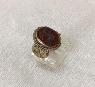 Men ' S Engraved Agate Rings Vintage Afghan Stone Animal Signet Islamic Vtg 9.  5 2 photo