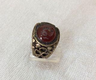 Men ' S Engraved Agate Rings Vintage Afghan Stone Animal Signet Islamic Vtg 11 Us photo