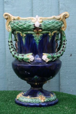 19thc Large Majolica Vase With Intricate Flowers & Leaf Decoration C1880s photo