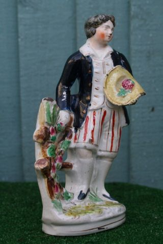 Mid 19thc Staffordshire Male Figure Holding Hat With Strawberries C1850s photo