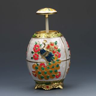 Chinese Exquisite Cloisonne Handwork Carved Peacock Toothpick Box G167 photo