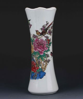 Chinese Color Porcelain Hand - Painted Flower&bird Vase W Qianlong Mark G284 photo