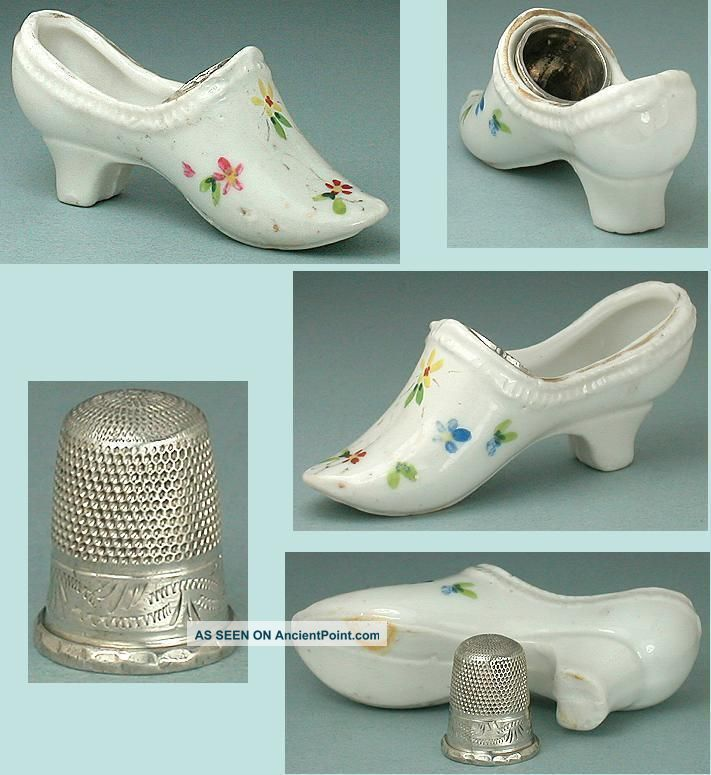 Antique Hand Painted Porcelain Thimble Shoe Sterling Silver Child ' S Thimble Thimbles photo