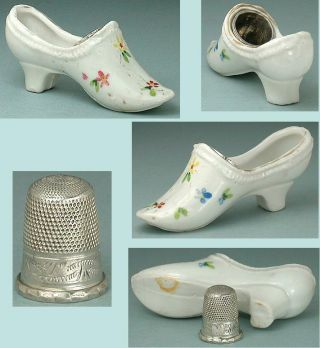 Antique Hand Painted Porcelain Thimble Shoe Sterling Silver Child ' S Thimble photo