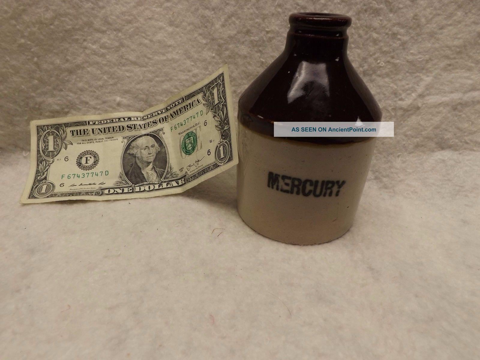 Antique Small Poison Mercury Crock Jug Bottle,  4 7/16