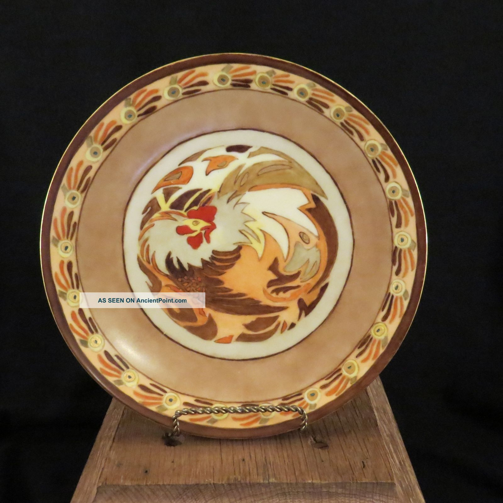 Vintage Abstract Rooster Hand - Painted Plate Thomas Bavaria Artist Signed 1925 Plates & Chargers photo