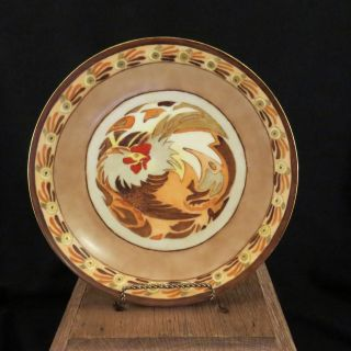 Vintage Abstract Rooster Hand - Painted Plate Thomas Bavaria Artist Signed 1925 photo