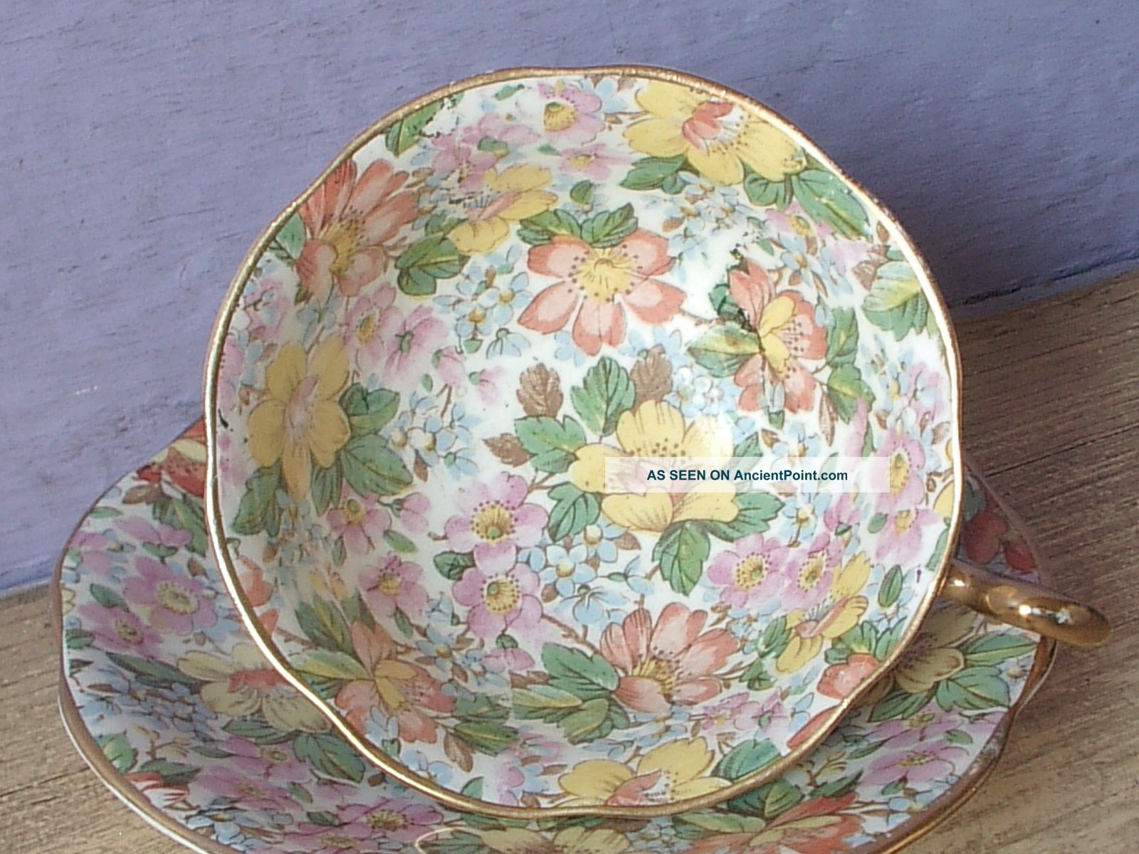 Vintage Regency Bone China Chintz Tea Cup,  English Teacup Cups & Saucers photo