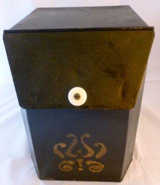 Antique 1800 ' S Tin General Store Counter Storage Bin Biscuit Container Stencil photo