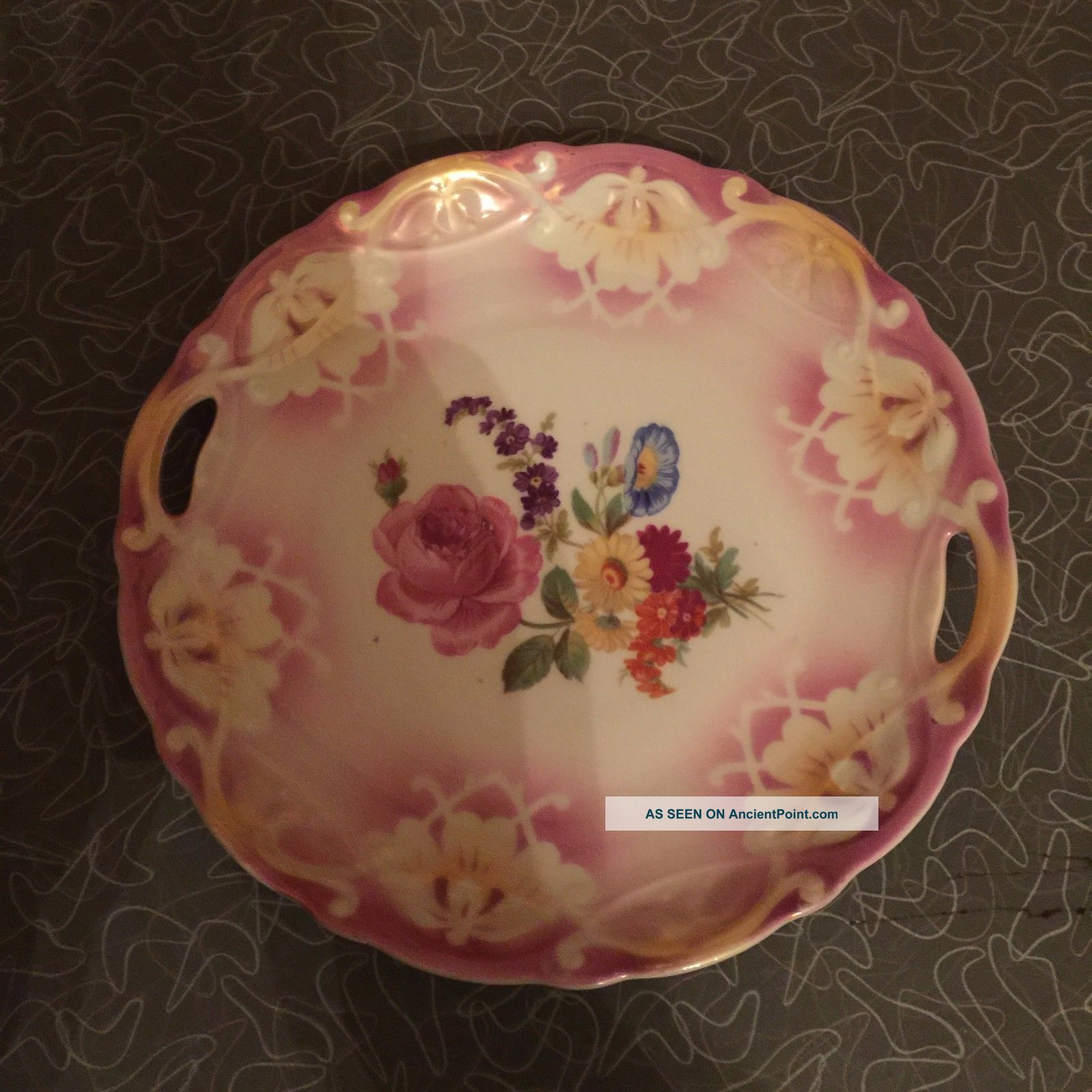 Antique Art Deco Pink Lusterware Flower Serving Plate With Enclosed Handles Plates & Chargers photo