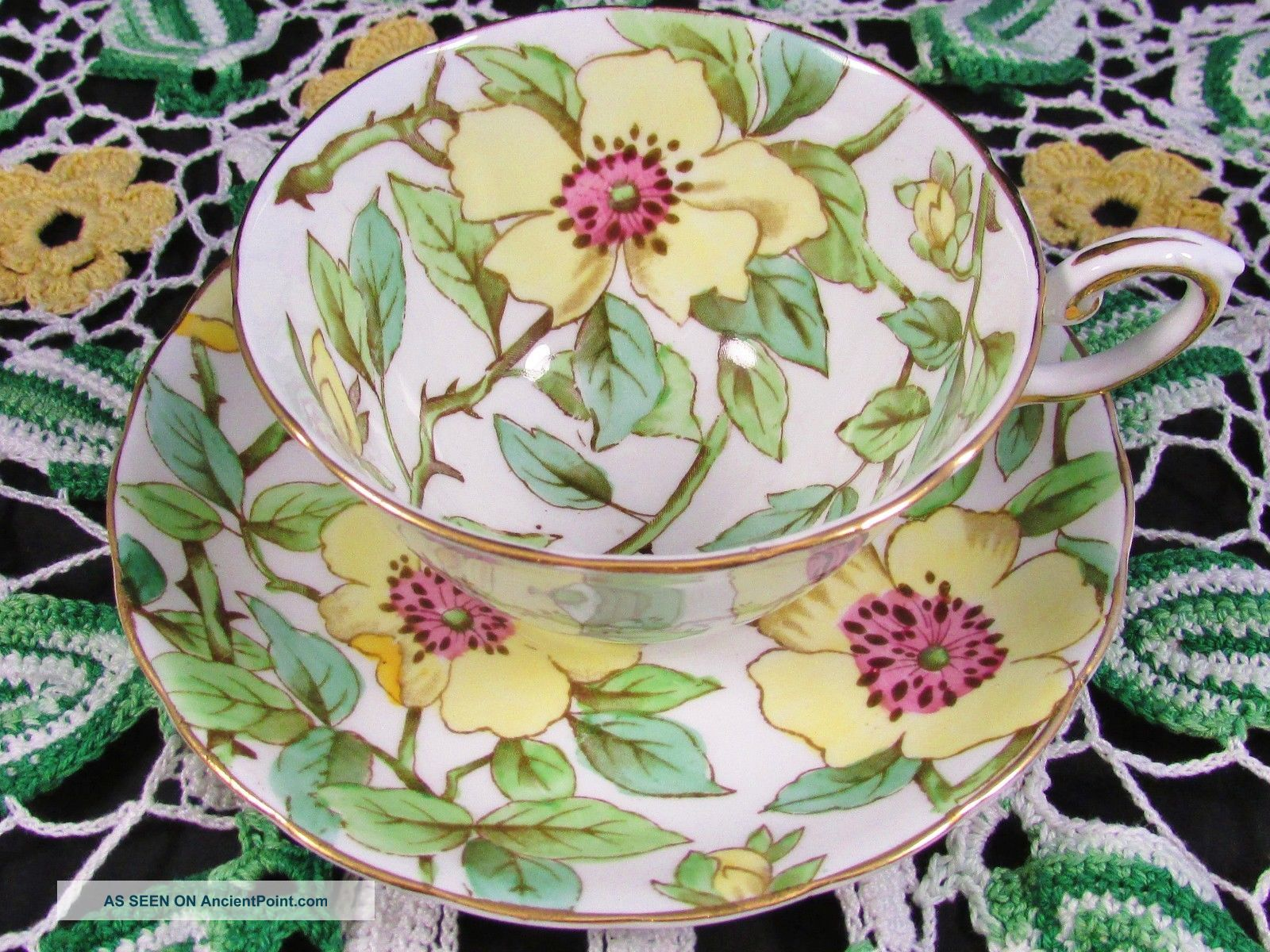 Tuscan Yellow Dogwood Chintz Floral Tea Cup And Saucer Cups & Saucers photo