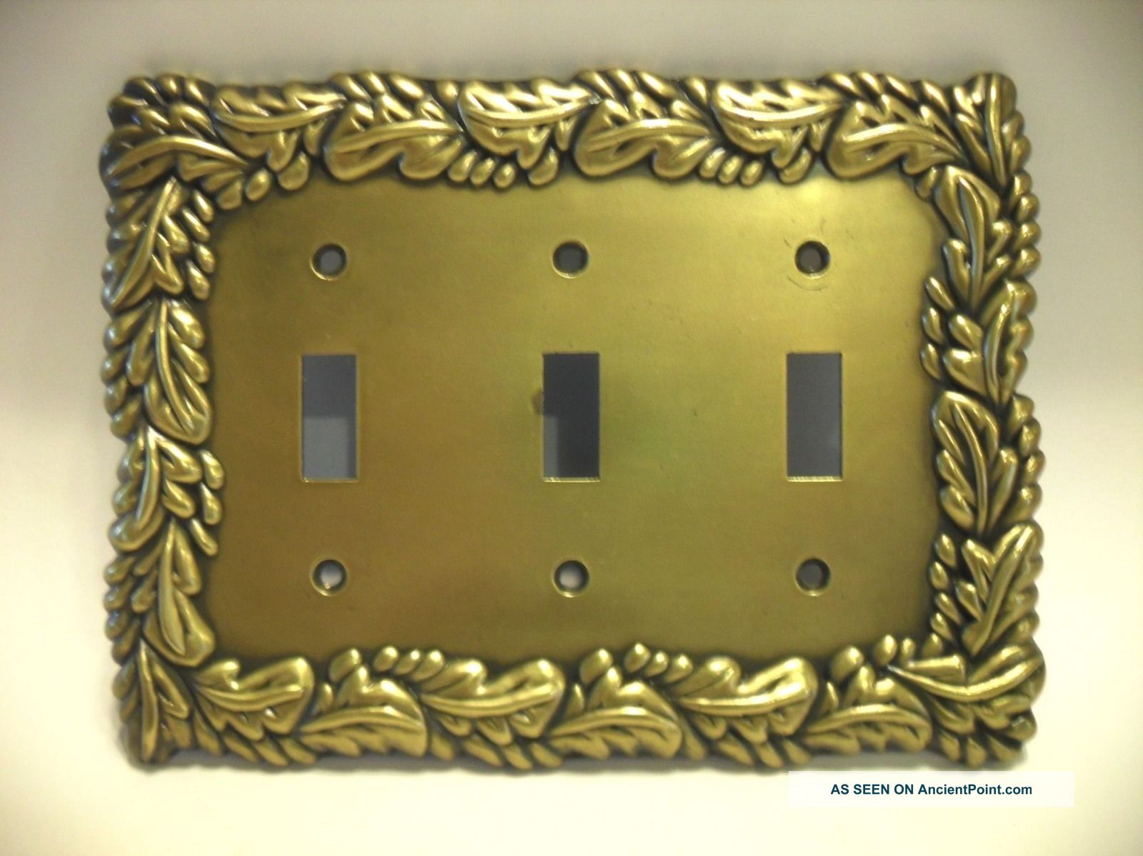 Vintage Metal Triple Light Switch Cover Wall Plate Ornate Scrolled Art Deco