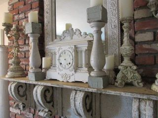 2 Fabulous Old Architectural Posts Chippy White Use As Candle Holders Or Display photo