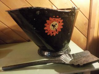 Antique Coal Scuttle Hod Bucket Primitive Vintage Metal Ash With Shovel photo