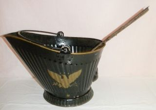 Vintage Black Metal Coal Bucket Ash Bucket With Handle And Shovel photo