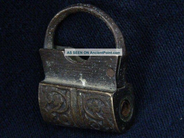 Ancient Bronze Lock Islamic 1700 Ad S2573 Near Eastern photo