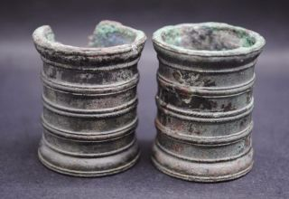 Two Ancient Roman Bronze Military Ink Wells photo