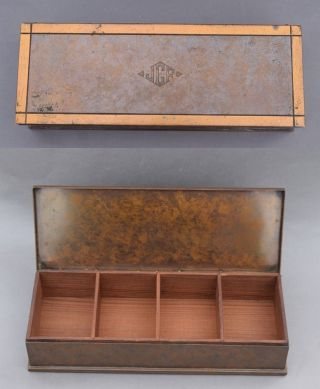 1920s Silver Crest Arts & Crafts Decorated Bronze Dresser Box W/ Wooden Liner photo