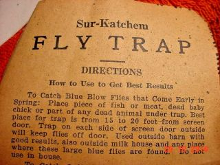 Scarce And Very Rare Vintage Sur - Katchem Fly Trap Made In Kensett Iowa In 1934 photo