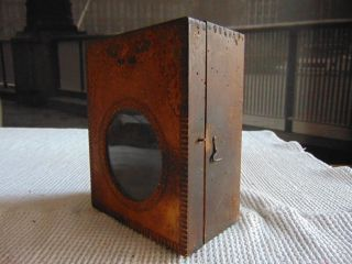 Old Early Primitive Wooden Wall Box Paint photo
