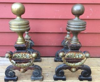 Antique 1800s Ornate Brass Cast Iron Fire Dogs Fireplace Andirons Tool Rests photo