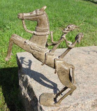 Big African Baule Dogon Bronze Horseman Cast Horse Ride Horse Africa Statue 4lb, photo